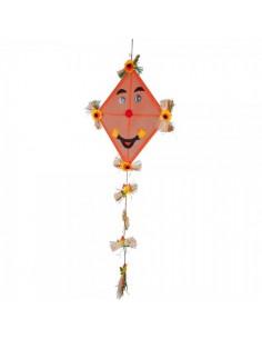 Cometa con cara y girasoles para la decoración otoñal de escaparates y espacios
