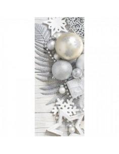 Banner-poster decoración navideña en tonos plateados y perla para la decoración de escaparates en navidad