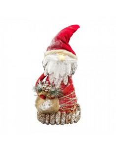 Papá noel-santa claus de yute con base de piñas Para escaparates de invierno en tiendas y centros comerciales