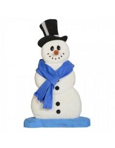 Muñeco de nieve hugo xl con bufanda azul para decoración de escaparates en invierno