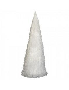 Abetos nevados de flecos de hilo para decorar escaparates y centros comerciales