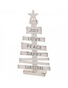Árbol de navidad con tablillas y texto christmas para la decoración de navidad con bolas y accesorios
