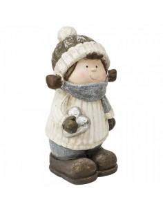 Figura decorativa de niño en invierno con bufanda y gorro para la decoración navideña de centros comerciales calles tiendas