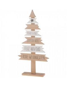 Árbol de navidad con textos de Merry Christmas para la decoración de navidad con bolas y accesorios