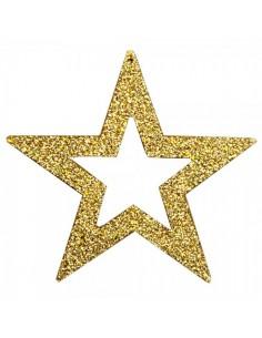 Elementos decorativos de estrellas contorneadas con purpurina para la decoración navideña de centros comerciales calles tiendas