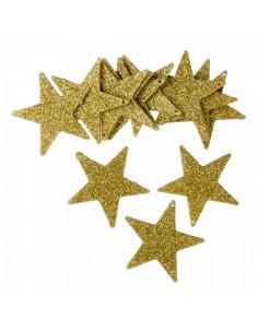 Elementos decorativos de mini estrellas con purpurina para la decoración navideña de centros comerciales calles tiendas