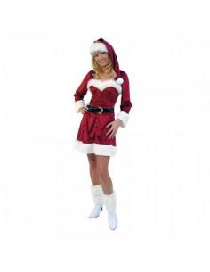 Traje de mamá noel elegante con gorro t40-42 para la decoración navideña de centros comerciales calles tiendas