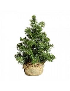 Árbol de navidad abeto con raíces en saco de yute para la decoración de navidad en interior o exterior con bolas y accesorios