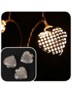 Guirnalda de 20 corazones de metal para luces para la decoración en navidad de fachadas calles centros comerciales tiendas