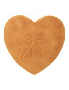 Imitación de golosina corazón texto BE MINE para heladerías cafeterías y la decoración de escaparates de tiendas