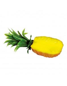 Imitación de piña partida por la mitad con hojas para fruterías y la decoración de escaparates de tiendas o comercios