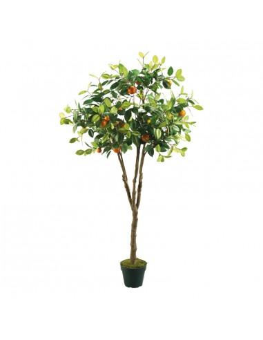 Imitación de naranjo árbol con tiesto para fruterías y la decoración de escaparates de tiendas o comercios