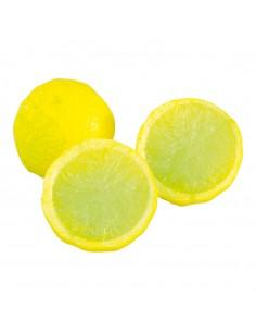 Imitación de limón partido por la mitad para fruterías y la decoración de escaparates de tiendas o comercios