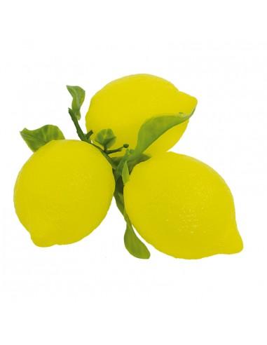 Imitación de limón con rama para fruterías y la decoración de escaparates de tiendas o comercios