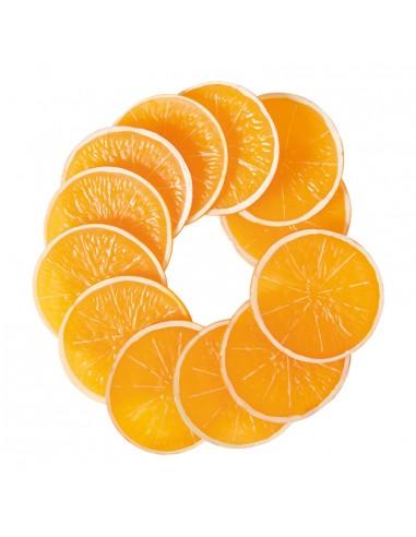 Imitación de rodajas de naranja para fruterías y la decoración de escaparates de tiendas o comercios