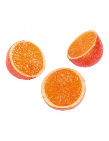 Imitación de naranjas partidas por la mitad para fruterías y la decoración de escaparates de tiendas o comercios