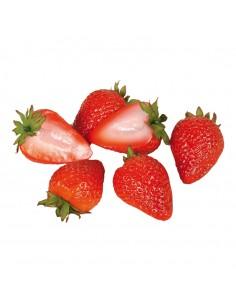 Imitación de fresas cortadas por la mitad para fruterías y la decoración de escaparates de tiendas o comercios