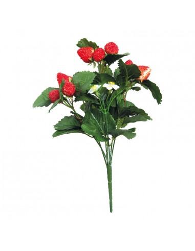 Imitación de ramillete de fresas con 7 tallos y hojas para fruterías y la decoración de escaparates de tiendas o comercios