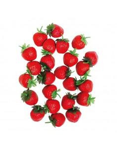 Imitación de fresas tamaño original para fruterías y la decoración de escaparates de tiendas o comercios