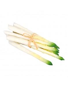 Imitación de espárragos blancos punta verde para fruterías y la decoración de escaparates de tiendas o comercios