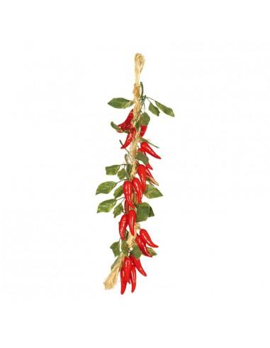 Imitación de guirnalda de pimientos guindillas para fruterías y la decoración de escaparates de tiendas o comercios
