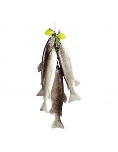 Imitación de ristra de peces con limón para pescaderías y la decoración de escaparates de tiendas o comercios