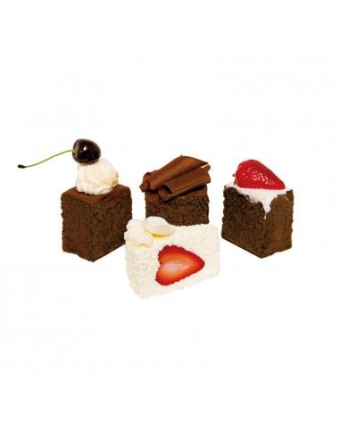 Imitación de porción cuadrada de tartas de chocolate y frutas para panaderías pastelerías y escaparates de tiendas