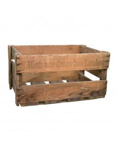 Caja de madera vintage con texto impreso para el vino para la decoración de espacios y escaparates de tiendas