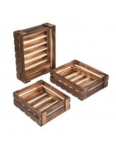 Cajas de vino vintage de madera para la decoración de espacios y escaparates de tiendas