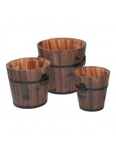 Cubos redondos vintage de madera para la decoración de espacios y escaparates de tiendas