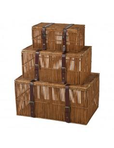 Baúl de madera vintage para la decoración otoñal de escaparates y espacios