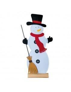 Muñeco de nieve con escoba para decoración de escaparates en invierno