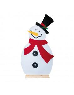 Muñeco de nieve con soporte para decoración de escaparates en invierno