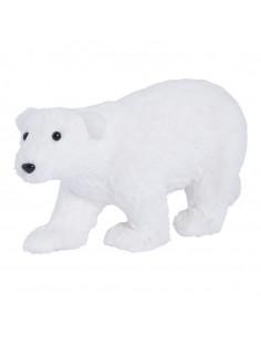 Oso polar caminando para la decoración de escaparates en invierno en tiendas
