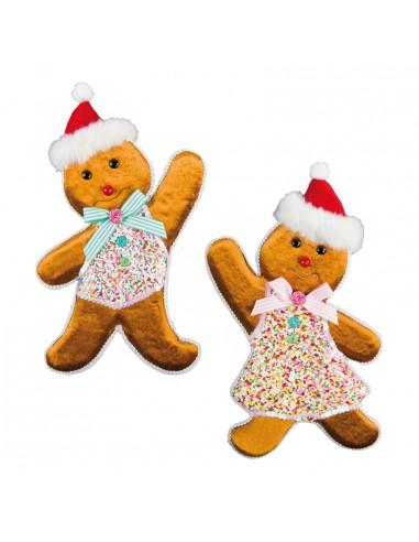Pareja de pan de jengibre para la decoración navideña de centros comerciales calles tiendas
