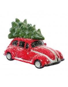 Coche decorativo con regalos encima para la decoración navideña de centros comerciales calles tiendas