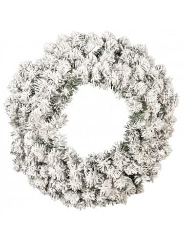 Corona de abeto noble nevada ignífuga para la decoración de centros comerciales calles y tiendas