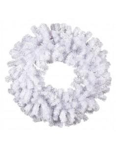 Corona de abeto noble nevada para la decoración de centros comerciales calles y tiendas