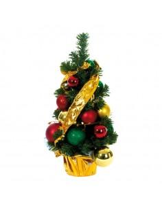 Árbol de navidad con bolas rojas doradas y verdes para la decoración de navidad con bolas y accesorios