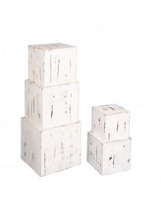 Cajas de madera apilables para la decoración de espacios y escaparates e interior de tiendas
