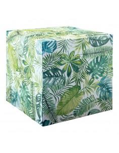 Cubo estamapado hojas tropicales para la decoración de espacios y escaparates e interior de tiendas