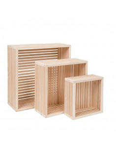 Expositor cuadrado de madera con fondo para la decoración de espacios y escaparates e interior de tiendas