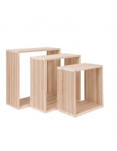 Expositor cuadrado de madera para la decoración de espacios y escaparates e interior de tiendas