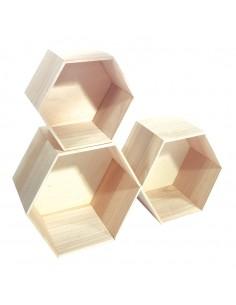 Expositor hexagonal de madera con fondo para la decoración de espacios y escaparates e interior de tiendas