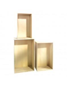 Expositor rectangular de madera con fondo para la decoración de espacios y escaparates e interior de tiendas