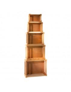 Cajas de madera encajables para la decoración de espacios y escaparates e interior de tiendas