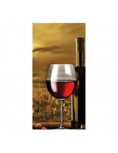Banner-foto copa de vino con paisaje de fondo para la decoración del fondo decorativo en los escaparates de tiendas