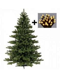 Abeto con luz LED para la decoración de navidad con bolas y accesorios