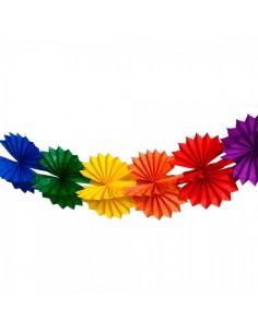 Guirnalda abaníco arcoíris de papel para la decoración de fiestas populares y escaparates