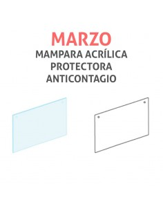 Mampara protectora acrílica anticontagio COVID19 mod. MARZO transparente 80x65cm